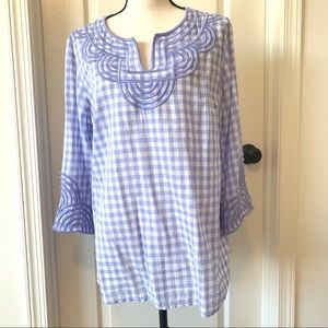TALBOTS Cotton Embroidered Gingham Blouse—SZ. Lg